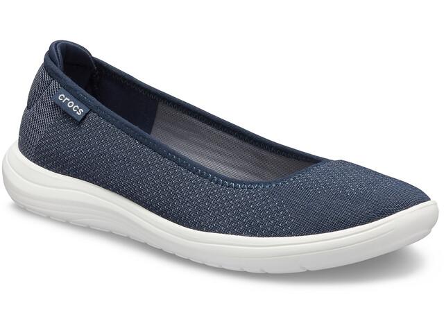 Crocs Reviva Flat Sandalen Damen navy/white